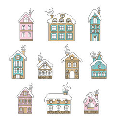 set colorful cute christmas houses vector image