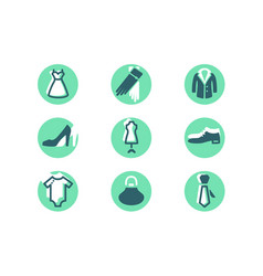 set fashion icons with clothes shoes decorations vector image