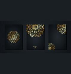 set gold mandala vintage black greeting cards vector image