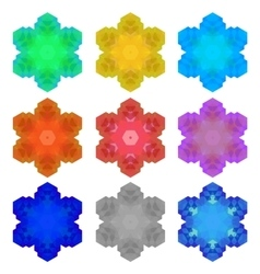 Set of Colorful Snowflakes Isolated vector