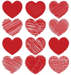 Set Of Hand Drawn Scribble Hearts Icon Design vector image