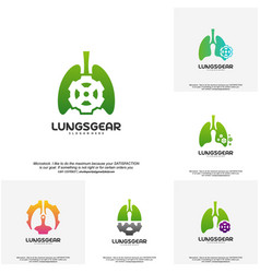 set of lungs gear logo designs lungs with gear vector image
