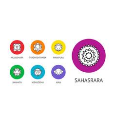 seven chakras symbols in circular frames linear vector image