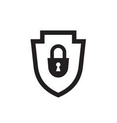 shield with security lock - black icon on white vector image