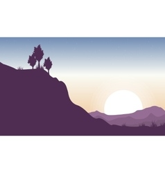 Silhouette of cliff beauty landscape vector image