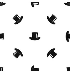 silk hat pattern seamless black vector image