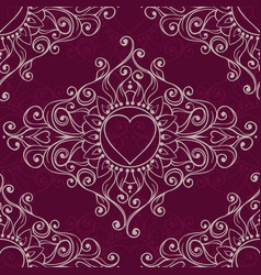 Sketch of tattoo henna hearts seamless pattern vector