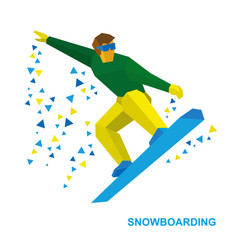 Snowboarding cartoon snowboarder during a jump vector
