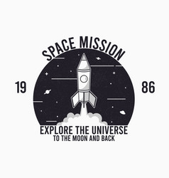 space design for t-shirt with rocket launch vector image