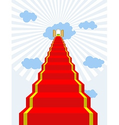 Stairway to paradise Red carpet into sky Gates of vector