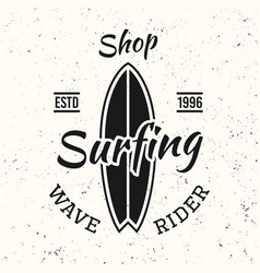 surfing black vintage emblem with surfboard vector image