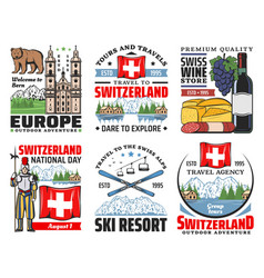 Switzerland travel and swiss tourism icons vector
