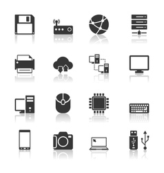 Technology Icons Set with reflection vector