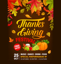 Thanks giving festival flyer with crop vector
