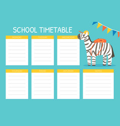 timetable for elementary school with cute funny vector image