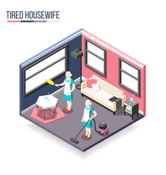 Tortured housewife isometric composition vector
