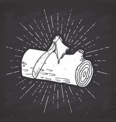 tree log vintage label hand drawn sketch grunge vector image