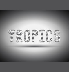 tropical metal lettering with shadow vector image