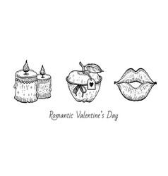 Valentine sketch set vintage doodle icons vector
