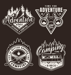vintage monochrome camping labels vector image