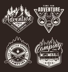 Vintage monochrome camping labels vector