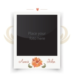 Vintage wedding photo frame template for photo vector
