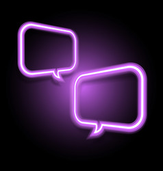 violet neon speech bubble on dark background vector image