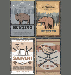 Wild animals hunting safari adventure retro poster vector