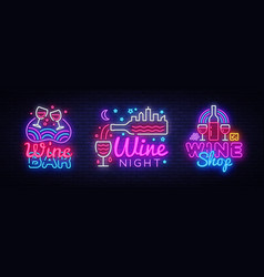 wine neon signs set design template big vector image