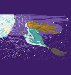 Witch flies on a broomstick vector