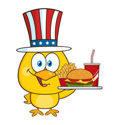 yellow chick character with usa patriotic hat vector image