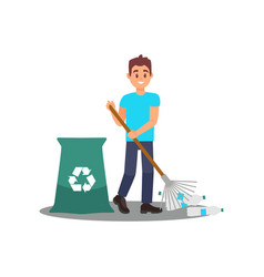 young man volunteer with rake in hands picking vector image