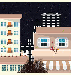 a guy listens to music and drinks on the roof of a vector image
