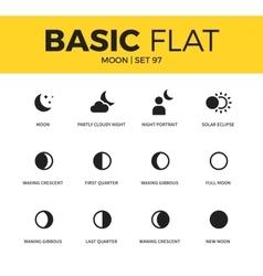 Basic set of moon icons vector image vector image