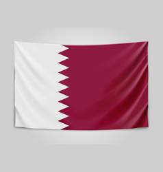 hanging flag of qatar state of qatar national vector image