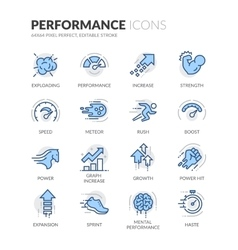 Line Performance Icons vector image vector image