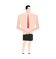 Naked businessman Man in tie and shoes Bankrupt vector image vector image