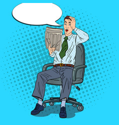 pop art businessman reading newspaper vector image
