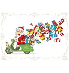 Santa Claus with Presents on Scooter vector image