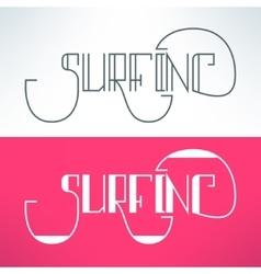 surf vintage lettering design background vector image