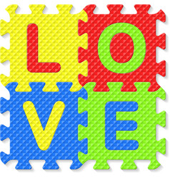 Word LOVE written with alphabet puzzle letters vector image vector image
