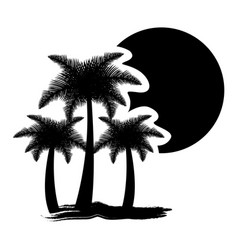 dark contour palms with sun icon vector image vector image