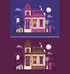 Old haunted mansion or ghost house scene vector