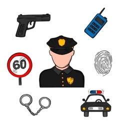 Policeman in uniform and police icons vector image vector image