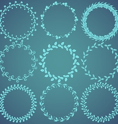 Round hand drawn floral pattern wreaths vector image vector image