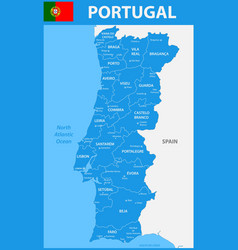 the detailed map of portugal with regions or vector image vector image