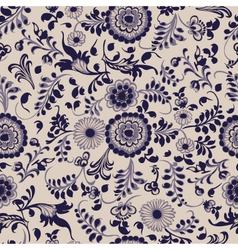 Vintage seamless floral pattern gzhel vector