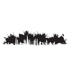black cityscape splash vector image vector image