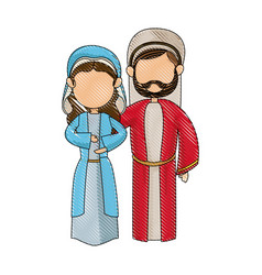 cartoon virgin mary and joseph manger image vector image