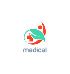 green leaf medic people logo vector image